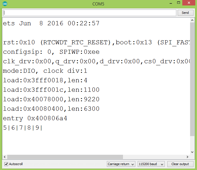 Output of the program in the Arduino IDE serial monitor, showing the result of applying the skip operator to an array of integers.