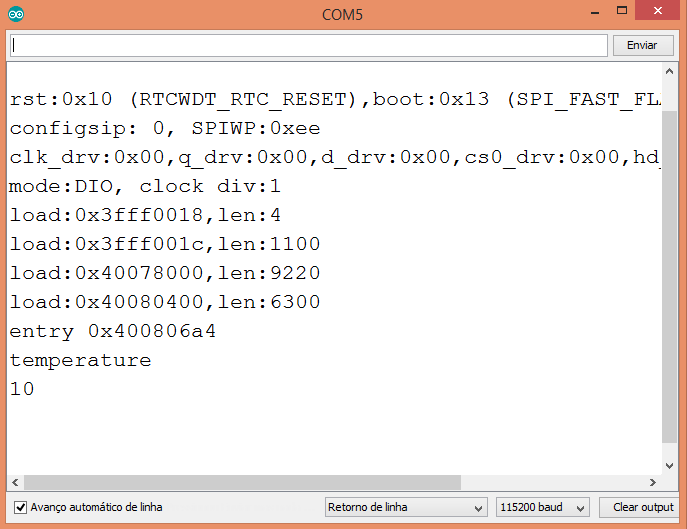 Output of the program on the Arduino IDE serial monitor