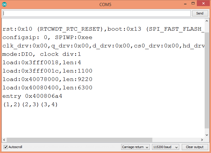 Output of the cpplinq program, showing the paired elements obtained with the pairwise operator.