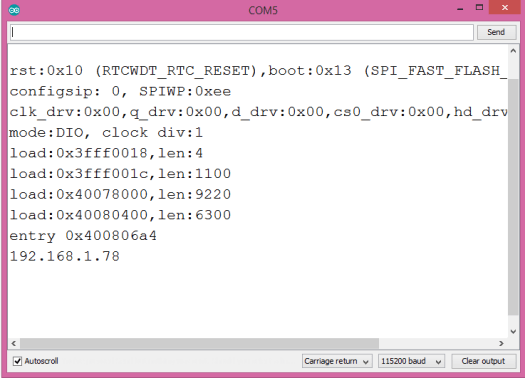 Output of the program, showing the IP address assigned to the ESP32.