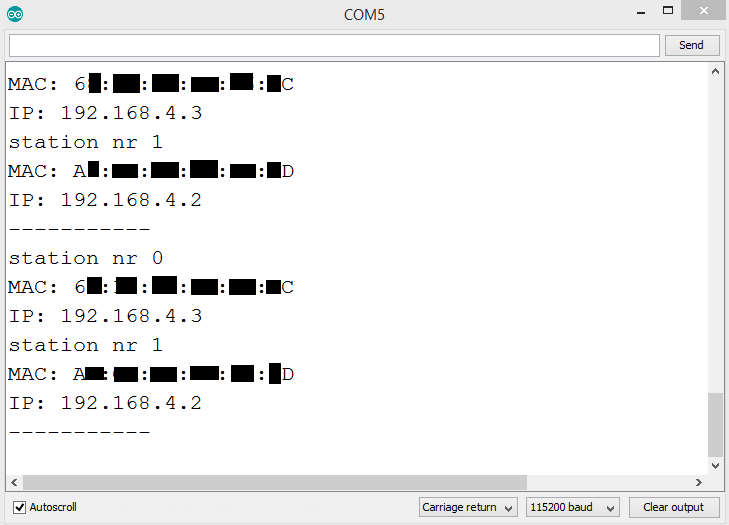 IP and MAC addresses of all the devices connected to the ESP32 network.