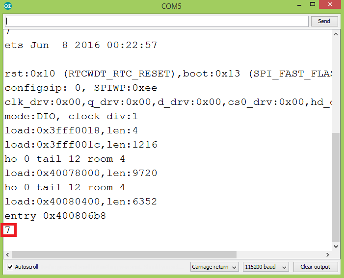 Output of the program, showing the obtained integer from the parsed XML.