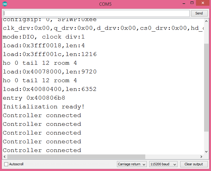 Output of the program after a PS4 controller is connected.