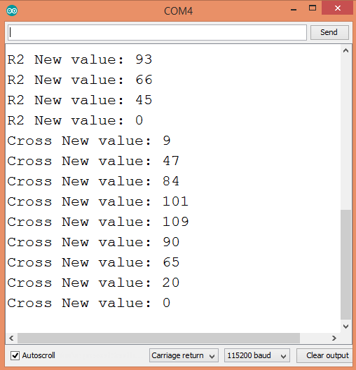 Output of the program on the Arduino IDE serial monitor .