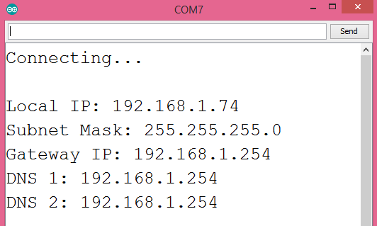 Output of the program, showing the network parameters obtained from the DCHP server.