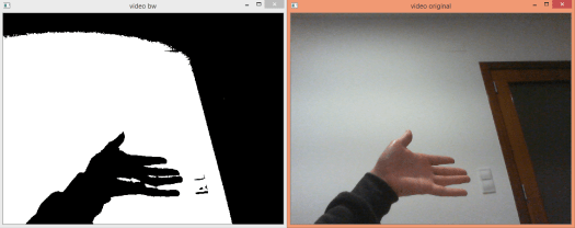 Original video capture and black and white version, converted with OpenCV.