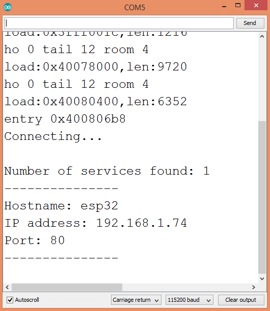 Output of the ESP32 acting as service inquirer.