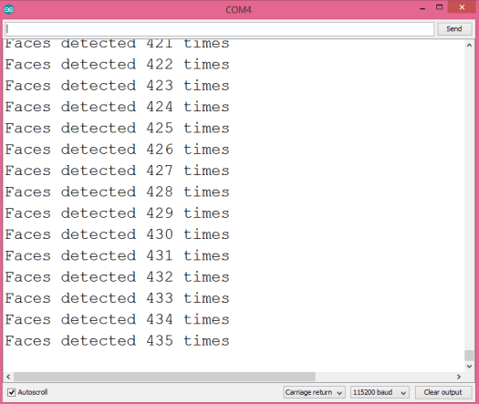 Output of the program in the Arduino IDE serial monitor.