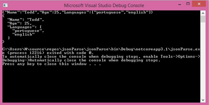 Output of the C# serializing JSON program.
