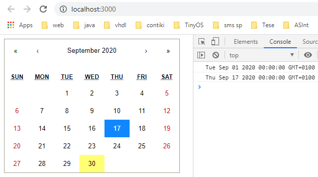 Rendering the React Calendar component on the browser.