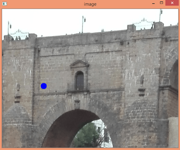 Image with blue circle drawn from the position of the mouse obtained from the OpenCV mouse events.