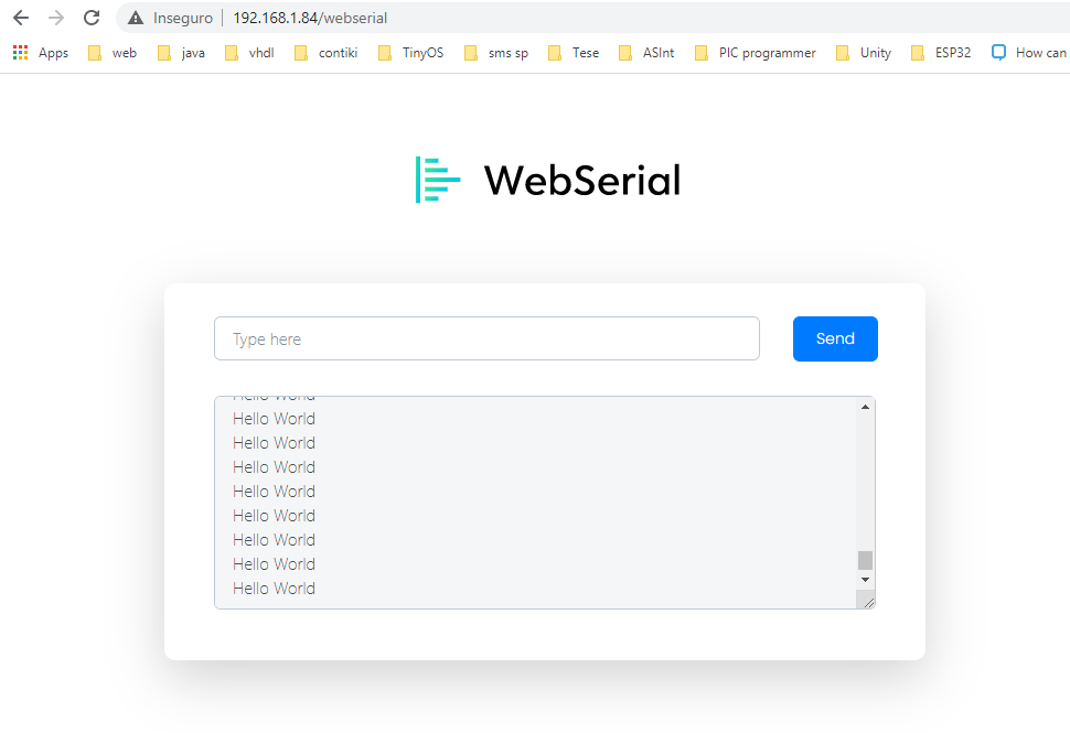 "WebSerial UI, showing the ""Hello World"" message."