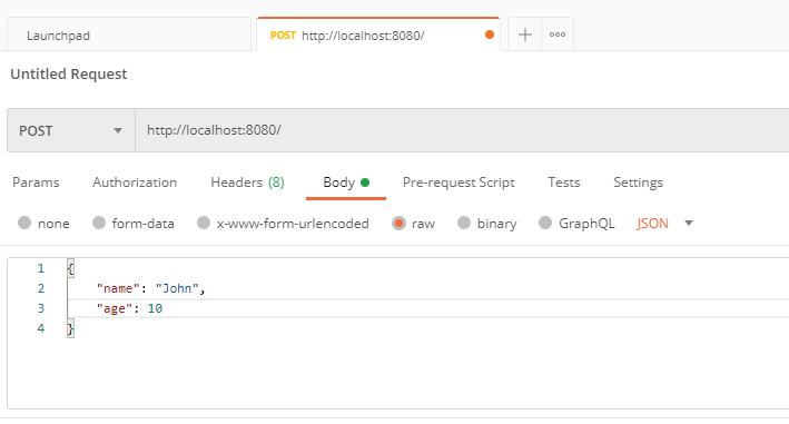 Sending HTTP POST request with JSON body.