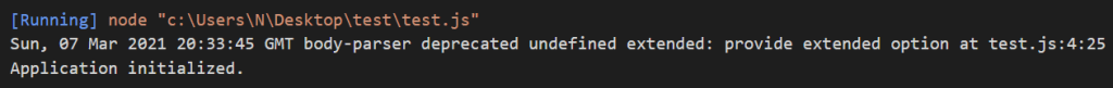 Express.js url encoded middleware deprecation warning.