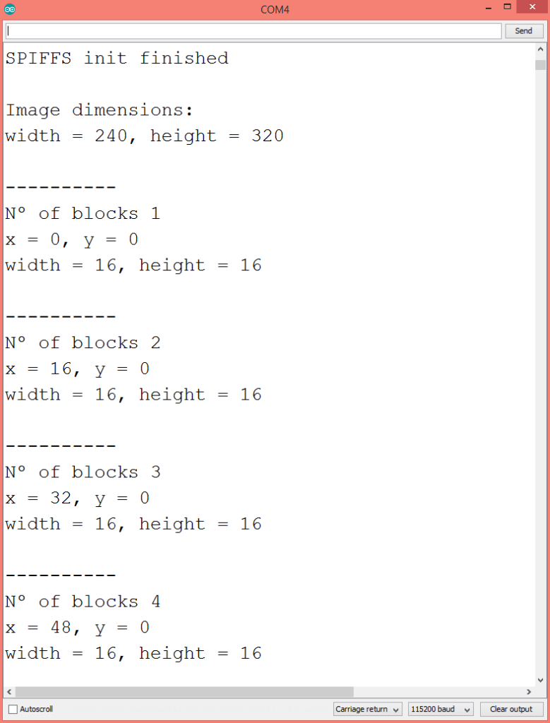 Output of the program on the Arduino IDE serial monitor, showing the .jpg image dimensions and blocks.