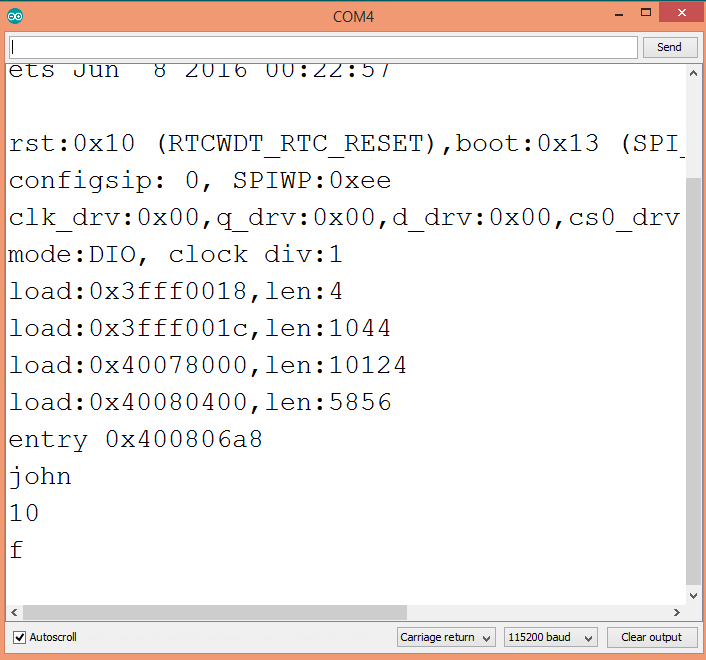 Output of the program to parse a .csv line.