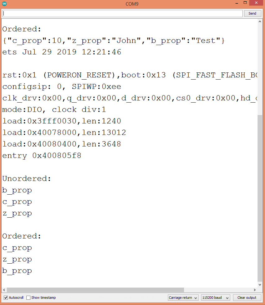 Iterating through the keys of the unordered and ordered JSON object.