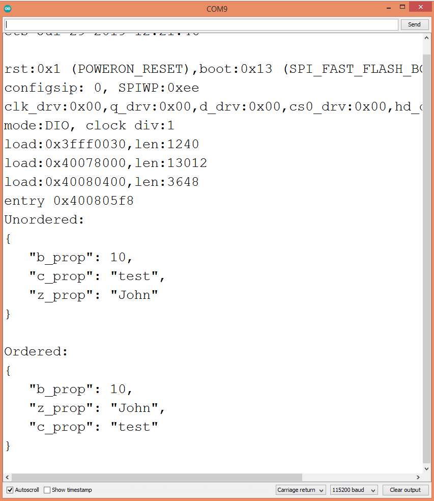 Output of the program, showing the serialized strings after an initial parse.