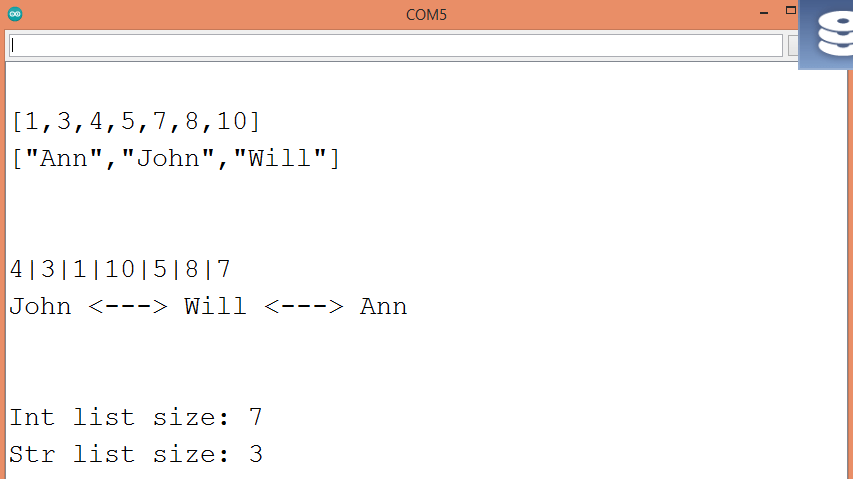Output of the program which applies some array functions.