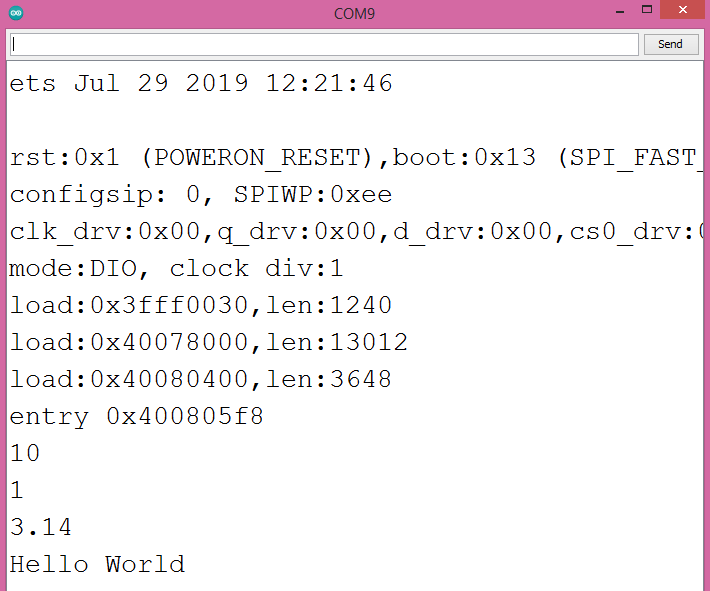 Values of the JSON fields printed to the Arduino IDE serial monitor.
