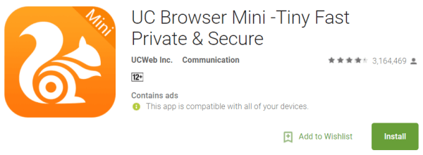 UC Browser Has Disappeared From The Google Play Store mini at store