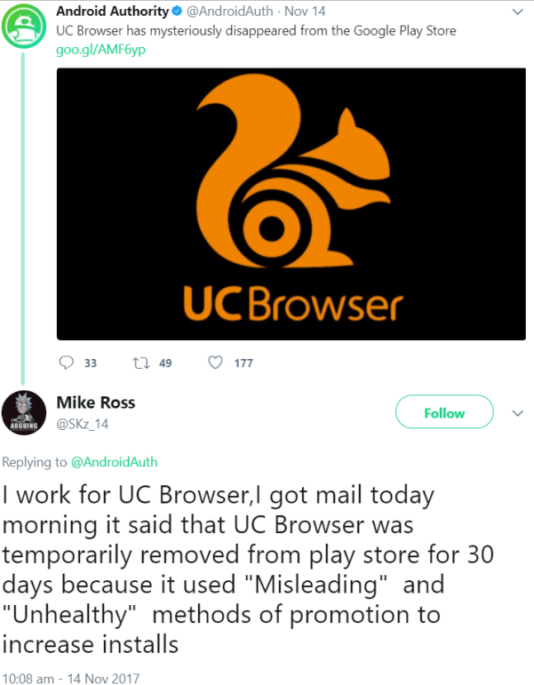 UC Browser Has Disappeared From The Google Play Store tweet
