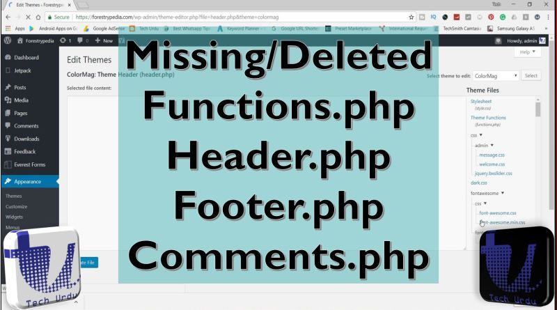 Missing or Deleted Header.php, Functions.php, Footer.php - Tech Urdu