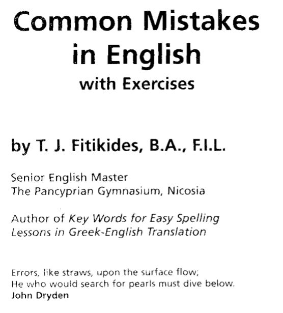 Common Mistakes in English with Exercises By T.J. Fitikides (Book)