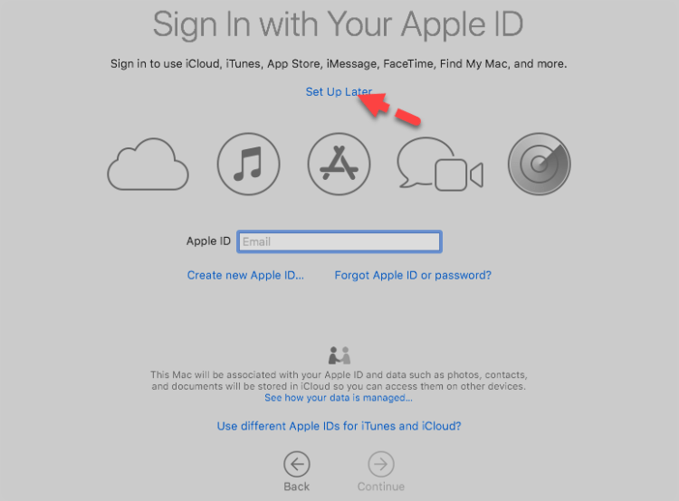 Create Apple ID for MacOS Mojave