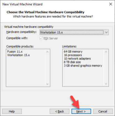 Choose Virtual Machine Hardware Compatibility