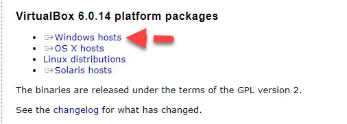 Download Virtualbox on Windows 10