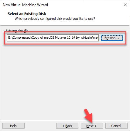 Insert MacOS Mojave VMDK file