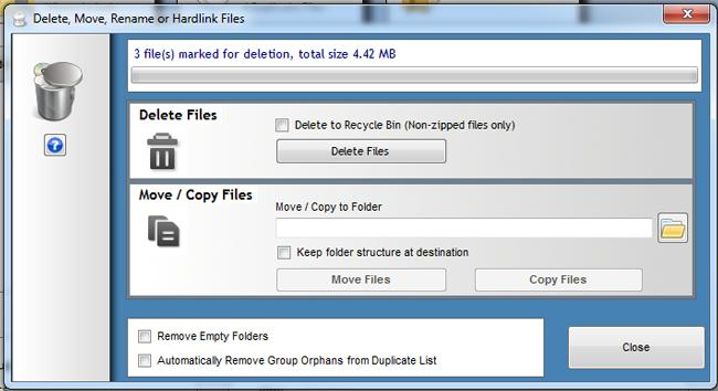 delete duplicate files individuallly