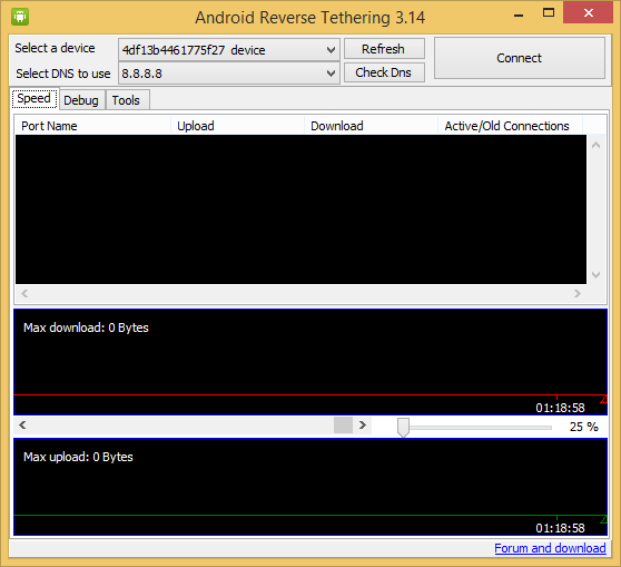 Android reverse tethering tool windows
