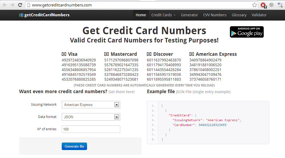 Image Result For Credit Card Numbers That Work For Online Shopping