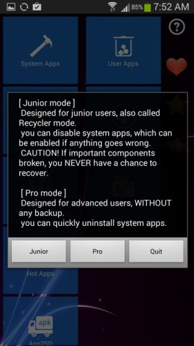 select-pro-mode-to-remove-bloatware-on-android