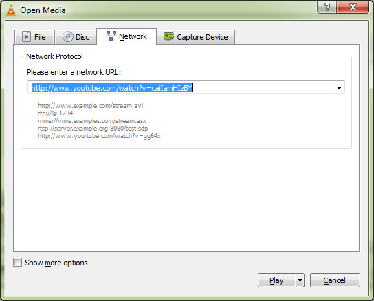 How to download youtube videos using vlc media player select network tab and enter youtube video url ccuart Gallery