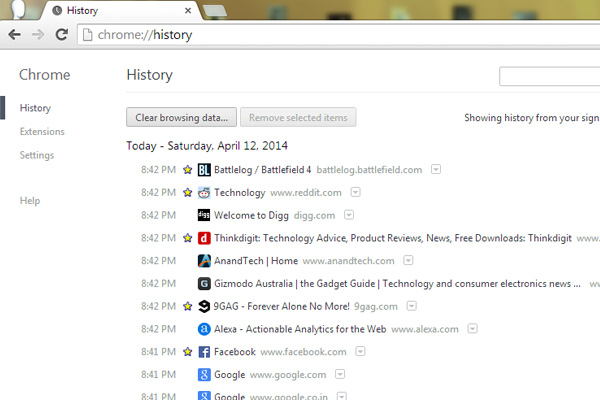 Google-chrome-history