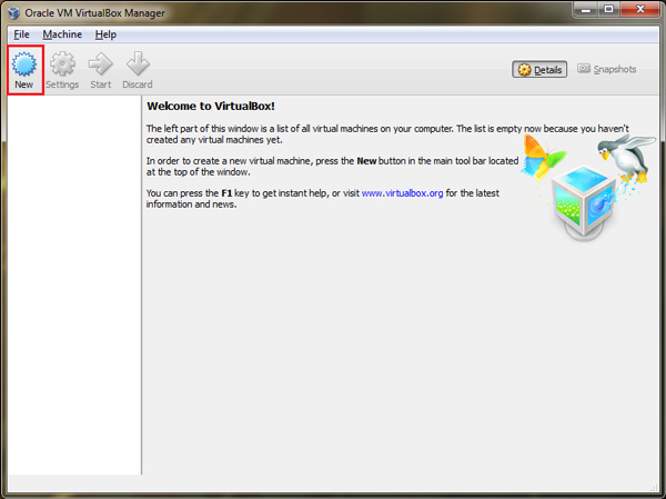 run-oracle-virtual-box-and-click-on-new-button