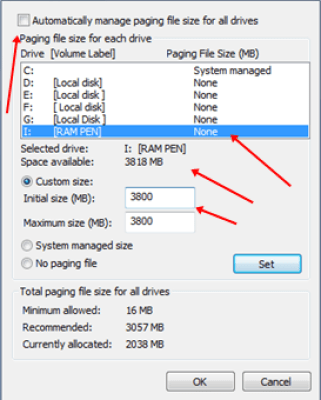 Uncheck the 'Automatically manage page size feature', select Pendrive and set the value.