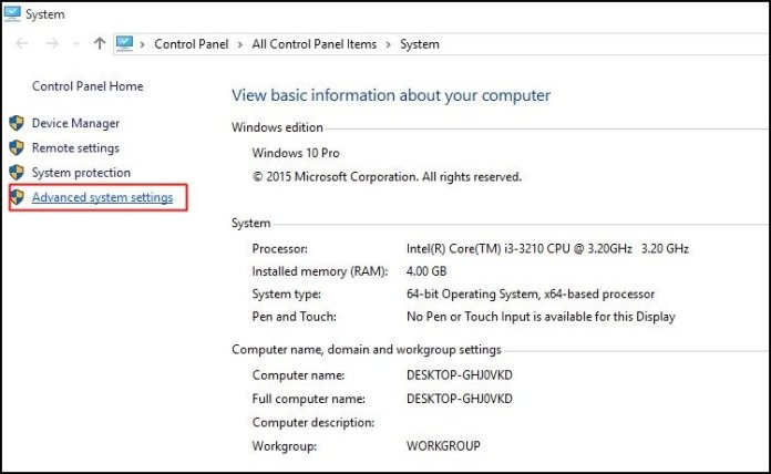Click on Advanced System Settings