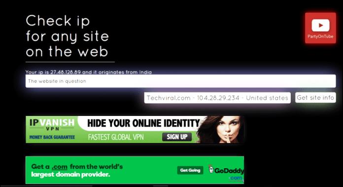 Find Server's IP Address of Any Website