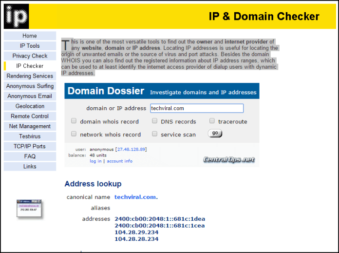 Find Server's IP Address of Any Website