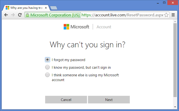 Reset Microsoft Account Password Online