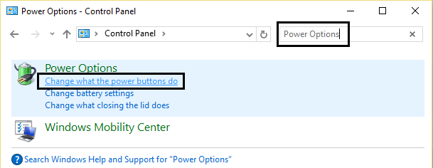 Disable The Fast Startup Option