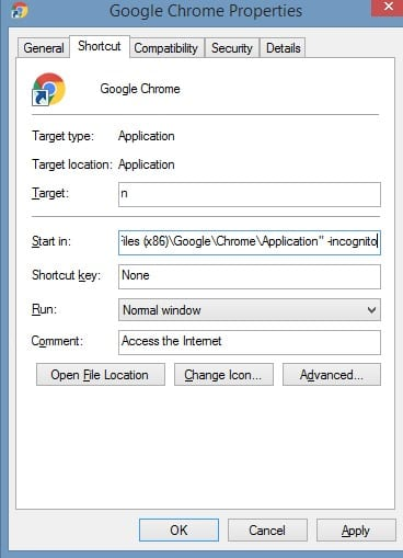 Always Open Google Chrome in Incognito Mode