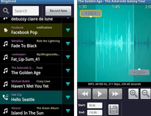 Edit or Create Custom Ringtones in Android using Ringdroid