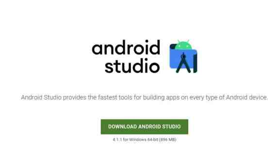 download the Android Studio .exe file