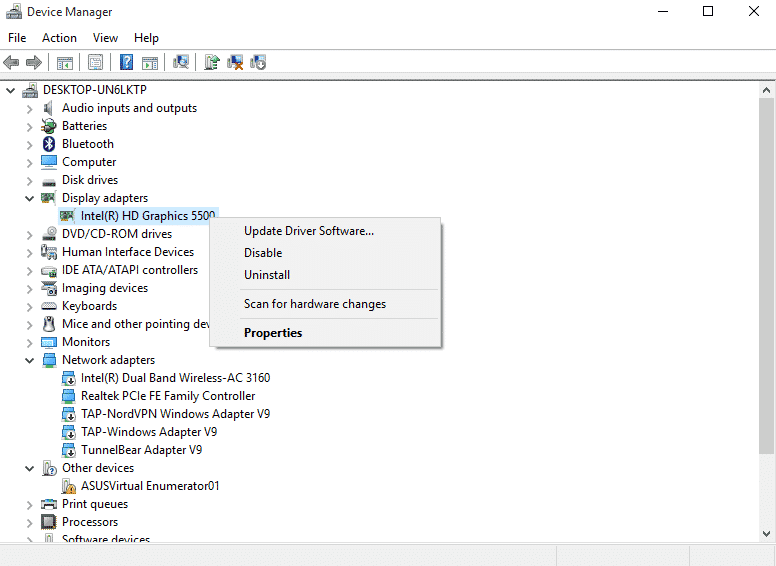 Right click on the graphic adapter and click on 'uninstall device'