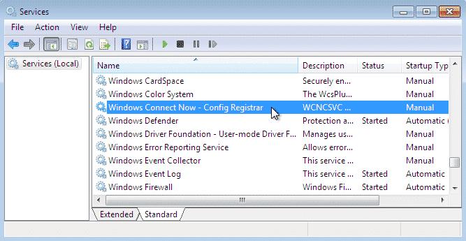 Disable Windows Connect Now Services